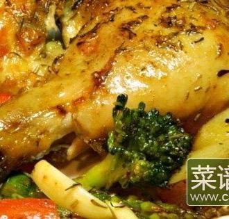 香味蔬菜烤鸡