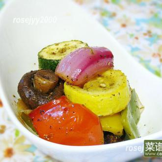 香草黑椒烤蔬菜