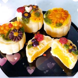 3d浮花奶黄月饼