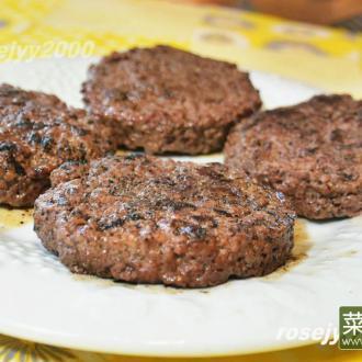 木炭烧烤汉堡牛肉饼
